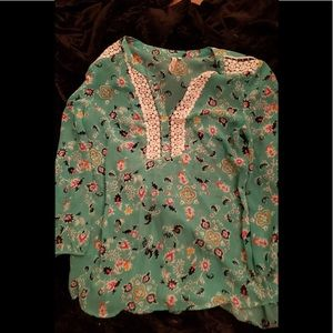 Red Camel Floral Boho Style Blouse